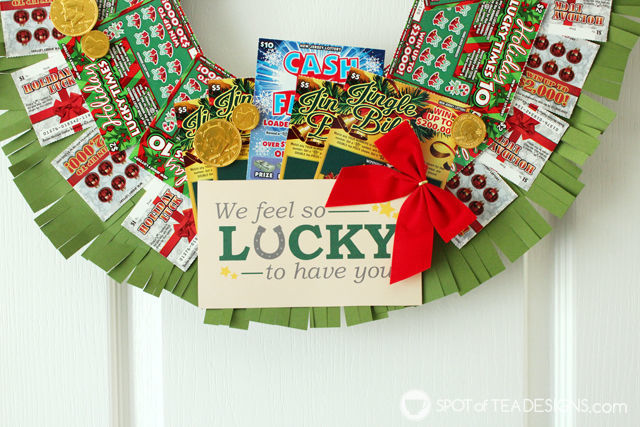 Step by step photo tutorial to make a DIY Lottery Wreath featuring #NJLottery instant win lottery tickets. Free printable lucky tag. #AD   spotofteadesigns.com