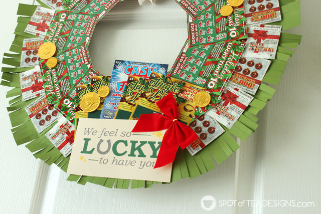 Step by step photo tutorial to make a DIY Lottery Wreath featuring #NJLottery instant win lottery tickets. Featuring free printable #AD   spotofteadesigns.com