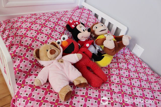 Pink and Yellow Toddler Bedroom Tour - plush stuffed animal collection | spotofteadesigns.com