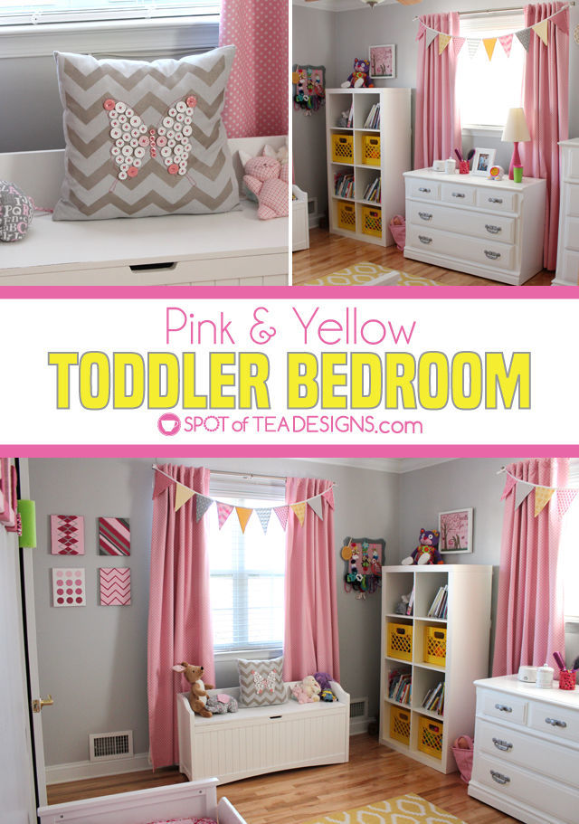 Pink and Yellow Toddler Bedroom Tour   spotofteadesigns.com