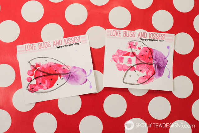 image about Bugs and Kisses Free Printable titled Insects and Kisses Valentines Footprint Young children Craft with Cost-free