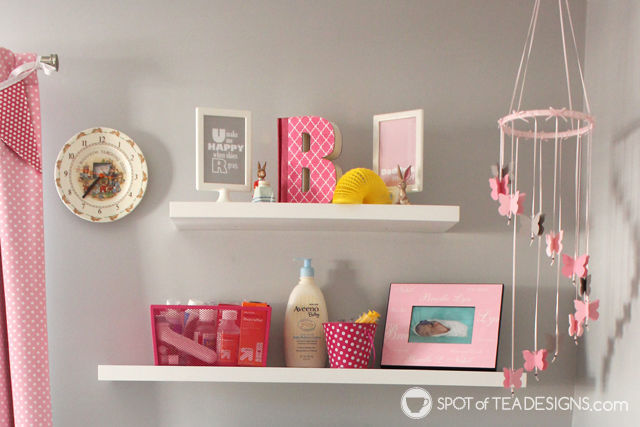 Toddler pink, white and yellow bedroom tour - shelf | spotofteadesigns.com