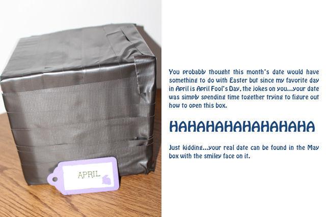 Year of Fun Dates Bridal Shower Gift - april fools box | spotofteadesigns.com