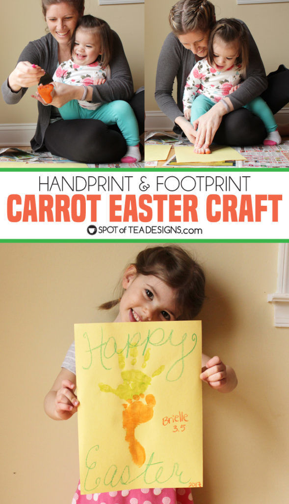 Carrot Footprint & Handprint Easter Kids Craft | spotofteadesigns.com