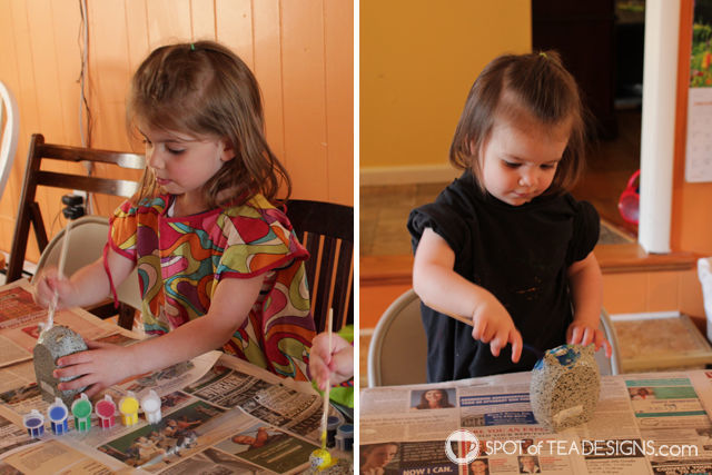 Mothers Day Activity - painting rock pet garden stones | spotofteadesigns.com