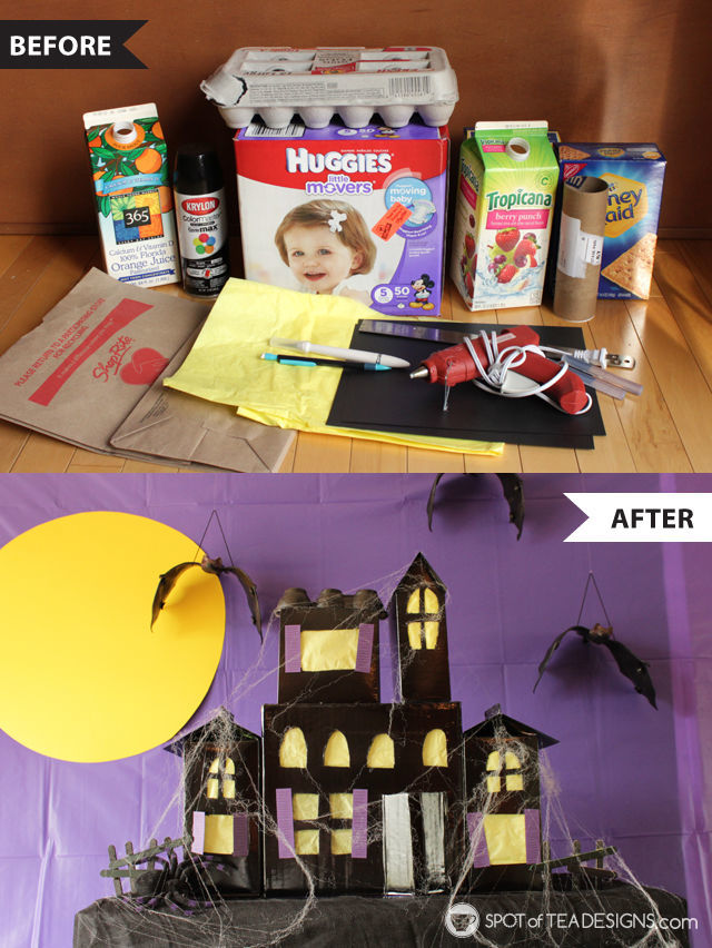 Halloween Before and Afters - turn recycled boxes and milk cartons into a haunted house! | spotofteadesigns.com