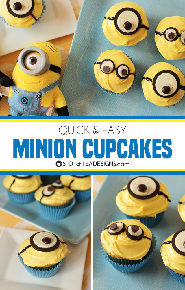 Quick and easy minions cupcakes made with OREO cookies and chocolates   spotofteadesigns.com