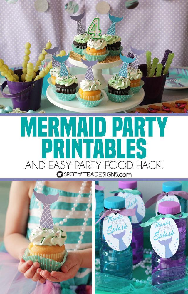 Mermaid Party Printables plus a party food hack! | spotofteadesigns.com