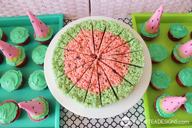 Watermelon party ideas - rice krispies treats shaped like watermelon | spotofteadesigns.com