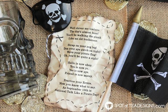 Talk like a pirate day gift idea - free printable tag | spotofteadesigns.com