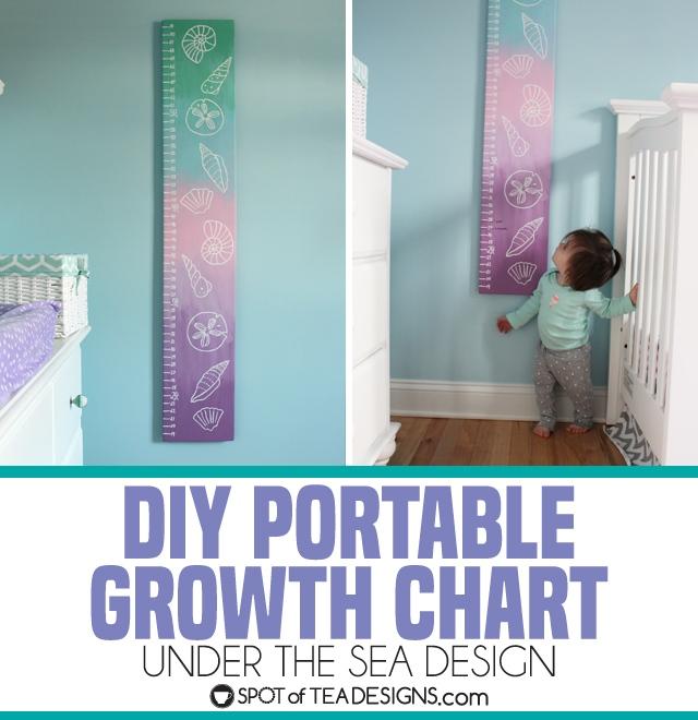 DIY portable growth chart with an under the sea theme design for a baby nursery | spotofteadesigns.com