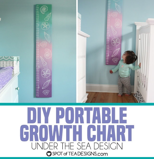 DIY portable growth chart with an under the sea theme design for a baby nursery | spotofteadesigns.com