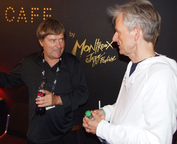Phillipe Nicolet (left) making conversation with Asbjørns manager Jesper Bay at the Montreux Jazz Café.