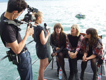 Giana Factory by the Lake Geneva being interviewed by the Montreux Festival TV crew