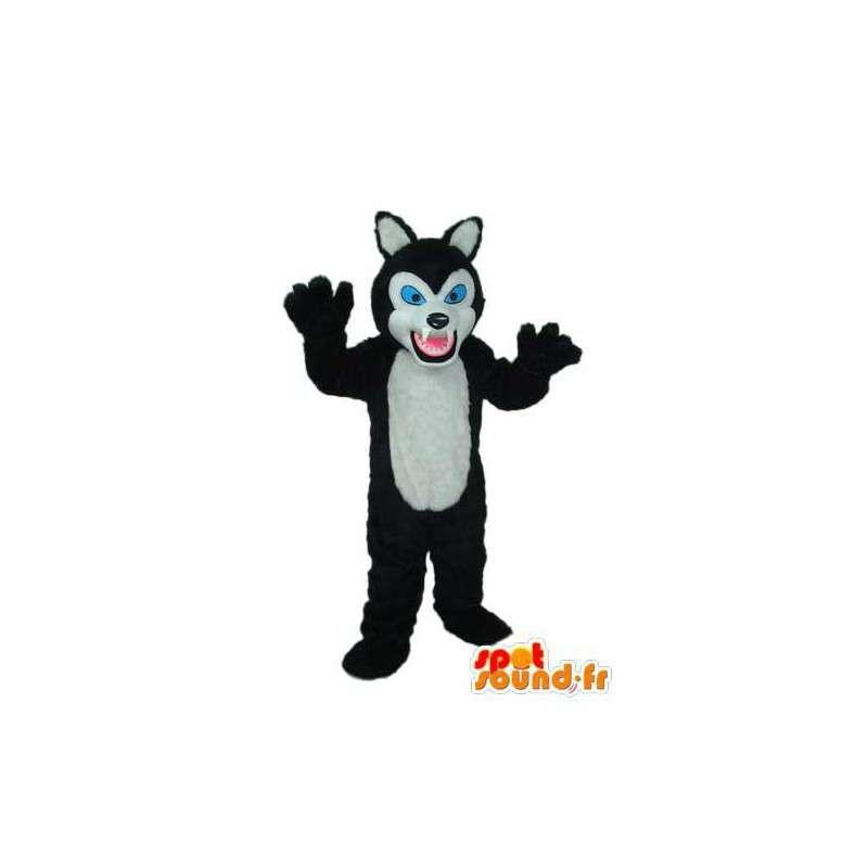 Mascot Schwarze Katze Weiß Blaue Augen Katzenkostüm