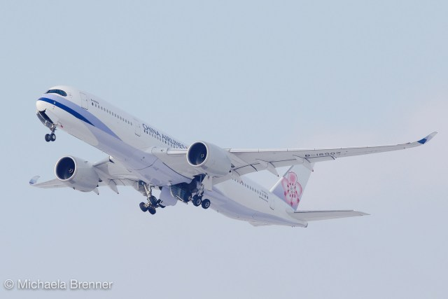 China Airlines A350 departing at Vienna on January 10th 2017.