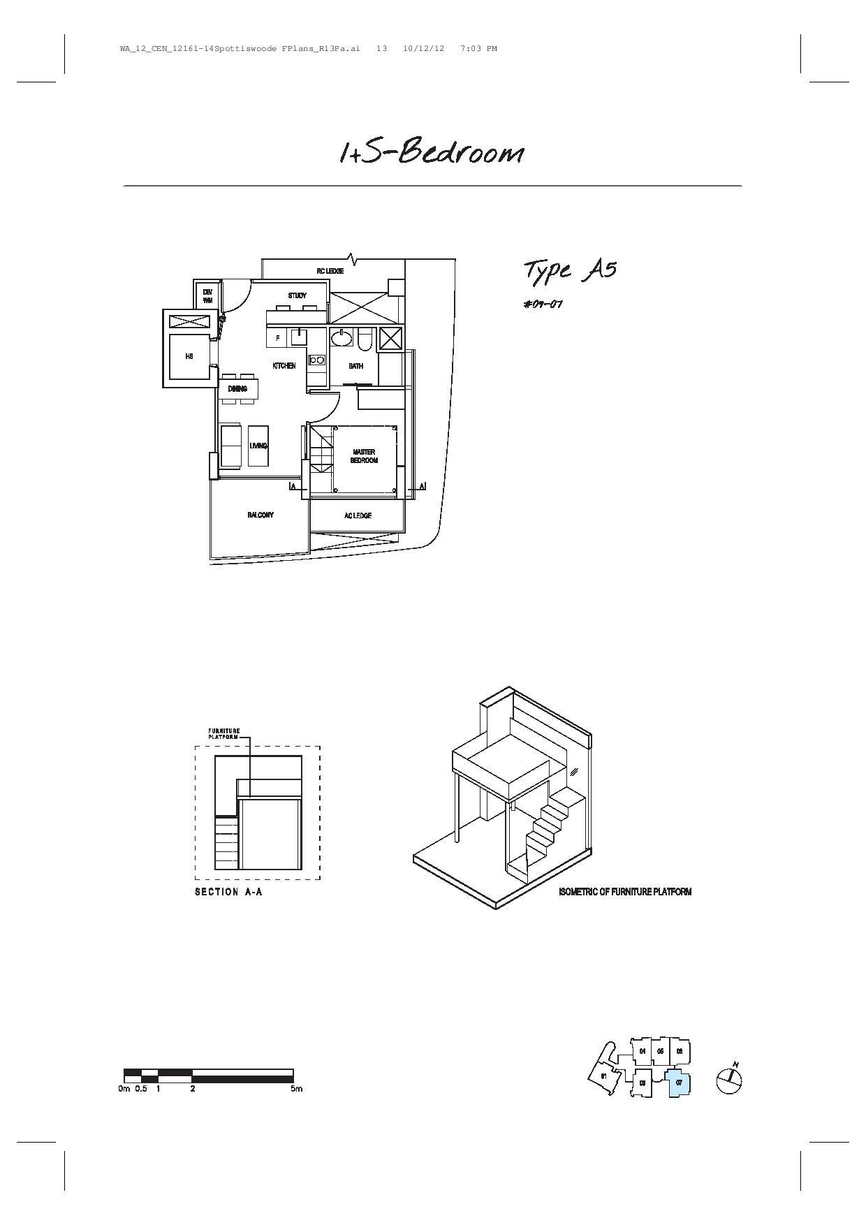 Spottiswoode Suites 1 Bedroom + Study Type A5 Floor Plans