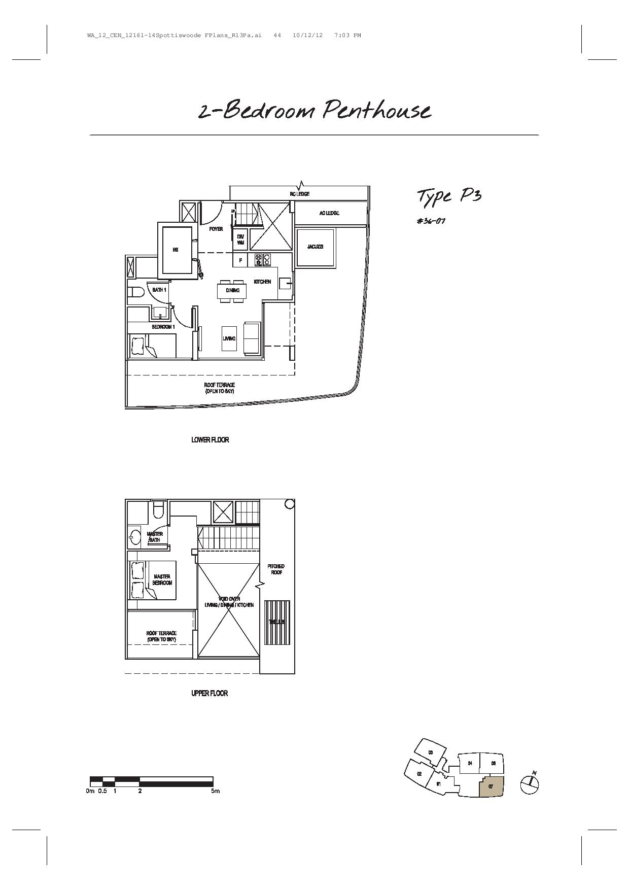 Spottiswoode Suites 2 Bedroom Penthouse Type P3 Floor Plans