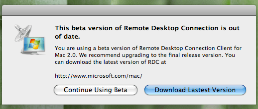 Remote Desktop Client - Out of date