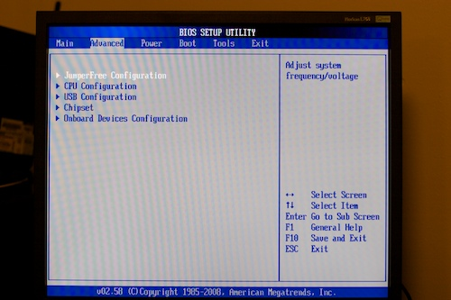 BIOS advanced screen