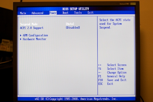 BIOS power screen