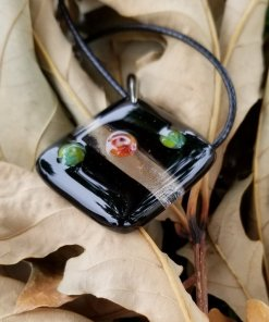 Millefiori, black and clear pendant