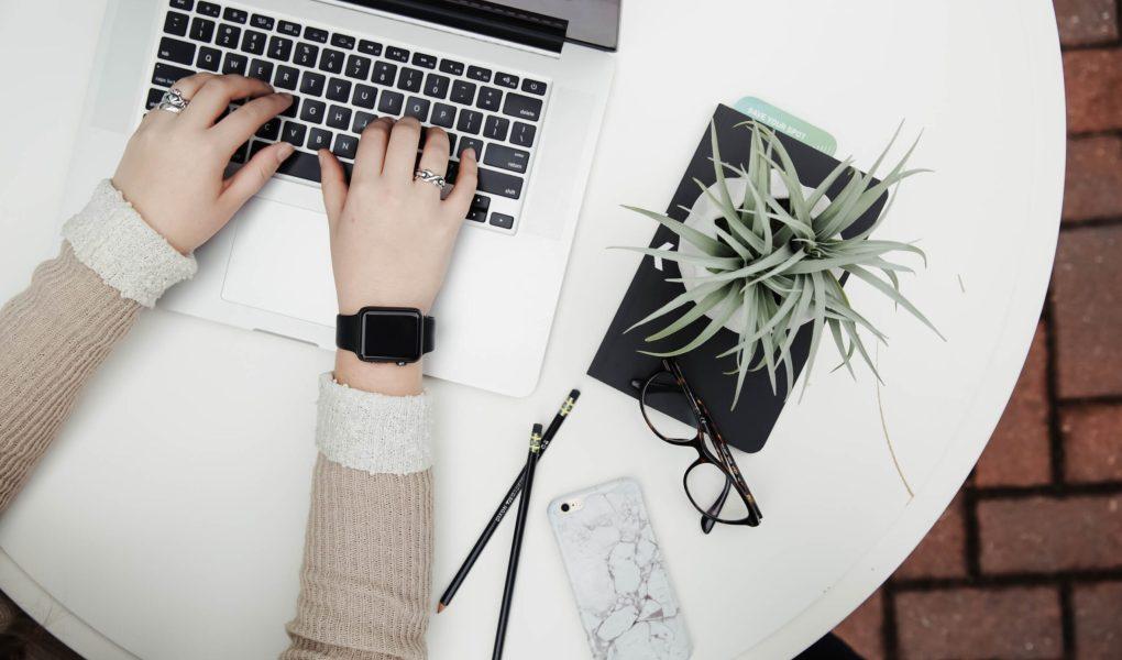 Photo aérienne d'une personne en pleine séance d'organisation sur son ordinateur portable et ayant une plante à ses côtés.