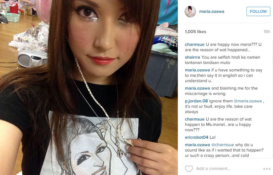 "Maria Ozawa, blamed for the miscarriage: ""I did not jinx Robin Padilla's triplets!"""