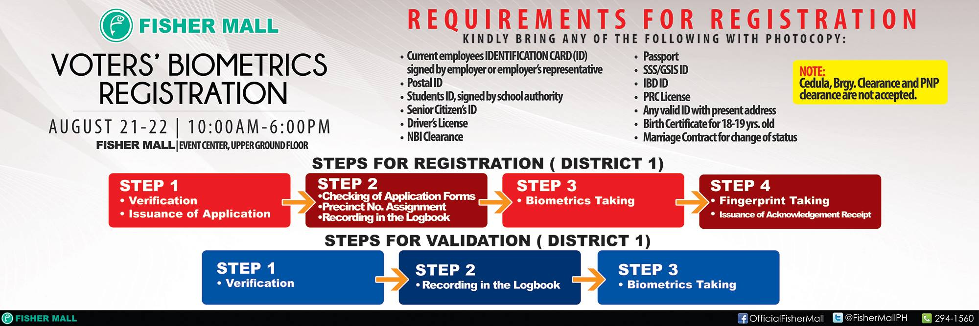 FOR QC DISTRICT 1 & 4 RESIDENTS – Voter's Biometrics Registration on August 21-22 at Fisher Mall