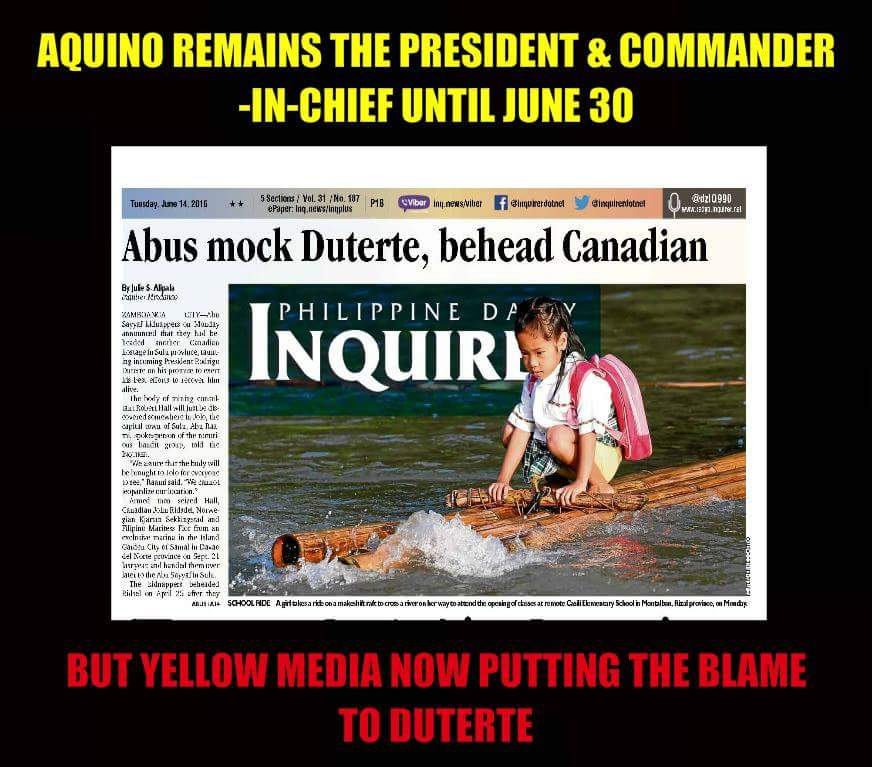 Unbalanced News, Frivolous Views – Inquirer forgot PNoy is still president, pins Abu Sayyaf beheading on Duterte