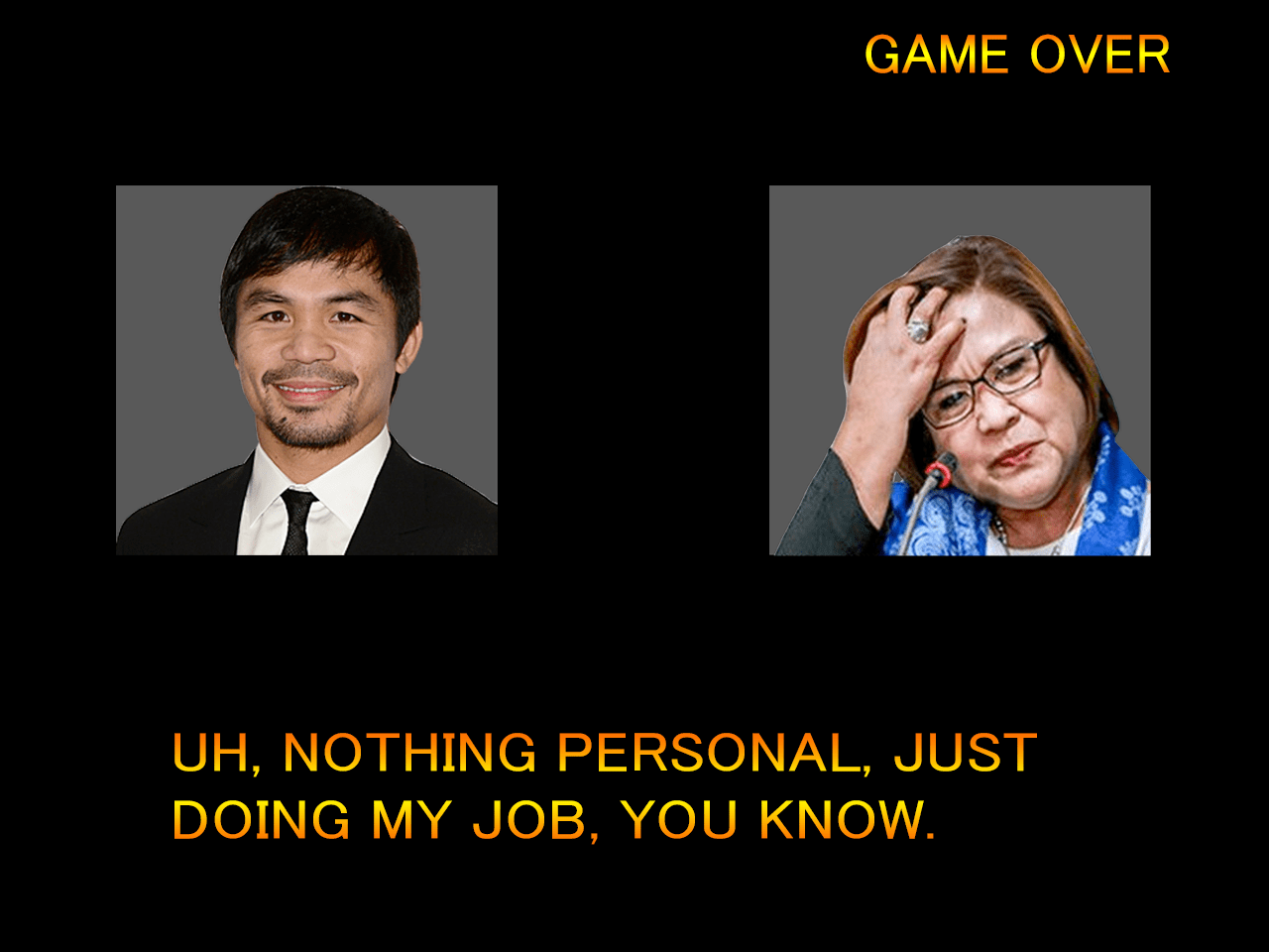KNOCKOUT BLOW – PHL Senator-Boxer Pacquiao trounces justice chairwoman for partiality