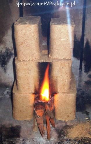 Płonący brykiet w kominku