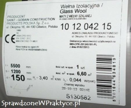 Etykieta wełny ISOVER z Leroy Merlin