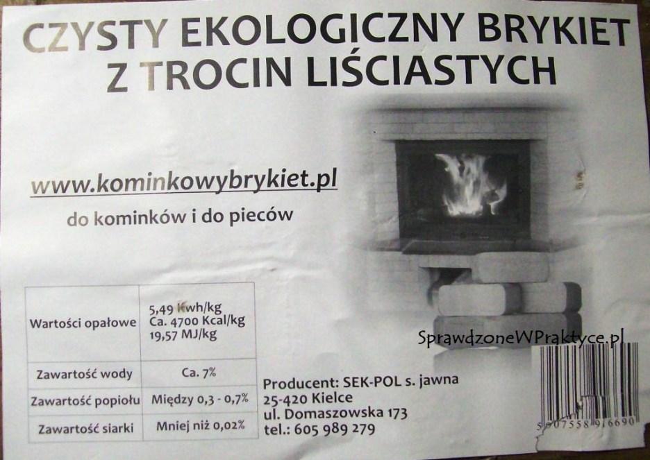 etykieta brykietu RUF SEK-POL