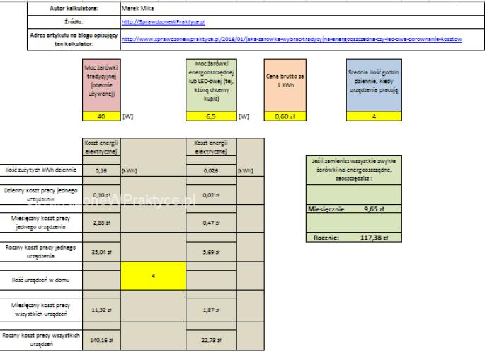 kalkulator kosztów pracy żarówek
