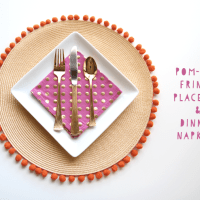 DIY: Pom-Pom Fringe Place Mat + Dinner Napkins
