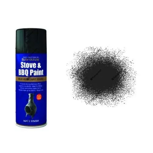 Rust-Oleum Matt Black Heat Resistant Spray Paint 400ml