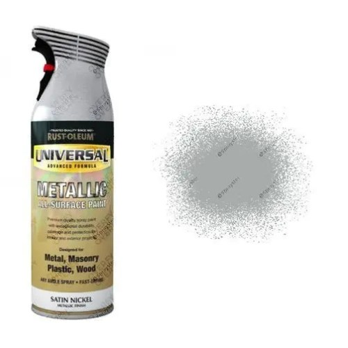 Rust-Oleum Satin Nickel Silver Metallic Universal Spray Paint 400ml