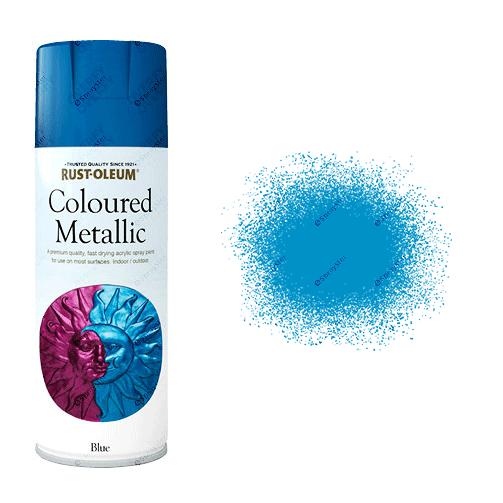 Rust Oleum Metallic Blue Spray Paint 400ml Sprayster