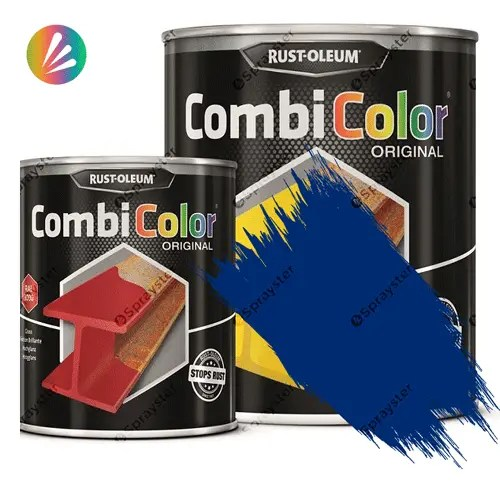 Direct-To-Metal-Paint-Rust-Oleum-CombiColor-Original-Satin-750ml-Sprayster-Dark-Blue