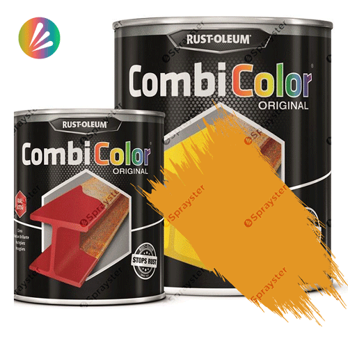 Direct-To-Metal-Paint-Rust-Oleum-CombiColor-Original-Satin-750ml-Sprayster-Golden-Yellow