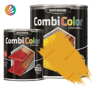 Direct-To-Metal-Paint-Rust-Oleum-CombiColor-Original-Satin-750ml-Sprayster-Safety-Yellow