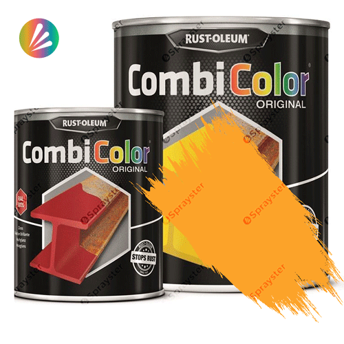 Direct-To-Metal-Paint-Rust-Oleum-CombiColor-Original-Satin-750ml-Sprayster-Signal-Yellow