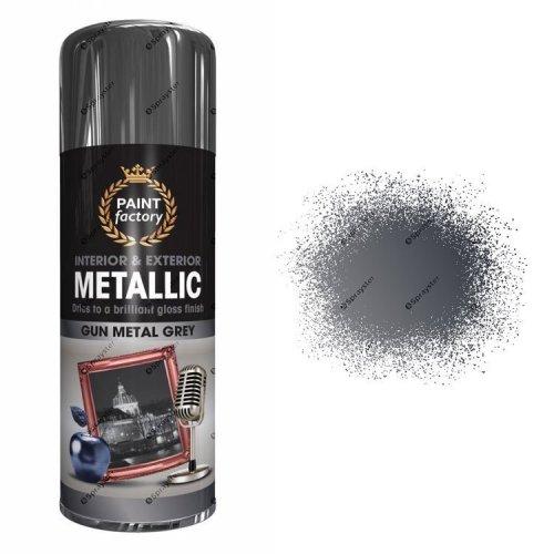 x1-Paint-Factory-Multi-Purpose-Spray-Paint-400ml-Gloss-Metallic-Gun-Metal-Grey