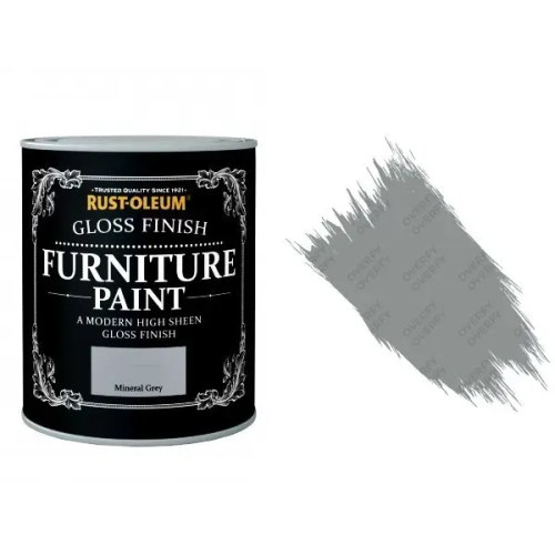 Rust-Oleum Mineral Grey Furniture Paint 125ml Shabby Chic Toy Safe Gloss