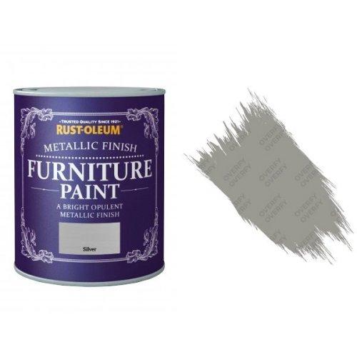 Rust-Oleum Silver Furniture Paint 125ml Shabby Chic Metallic