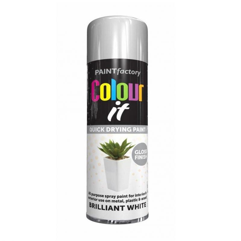 Colour It Brilliant White Spray Paint Gloss 250ml