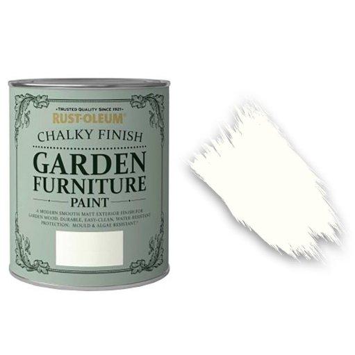 Rust-Oleum Chalky Finish Garden Furniture Paint Chalk White 750ml