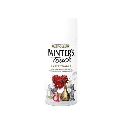 Rust-Oleum White Gloss Spray Paint Painter's Touch Craft Enamel 150ml