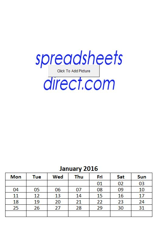 Personalised Photo Picture 2016 Calendar Maker Spreadsheet